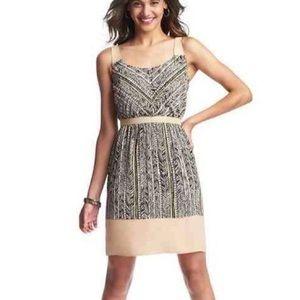 NWT LOFT beige/black tribal print sleeveless dress